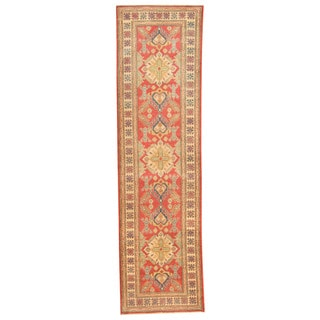 Herat Oriental Afghan Hand-knotted Tribal Kazak Red/ Ivory Wool Runner (2'9 x 10')