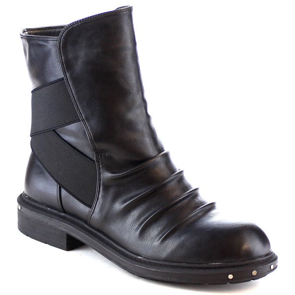 Ultra-02 Women's Studded Ruched Elastic Ankle Bootie