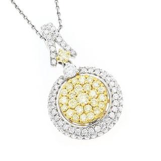 Luxurman 14k Gold 1 5/8ct TDW White and Yellow Diamond Circle Pendant