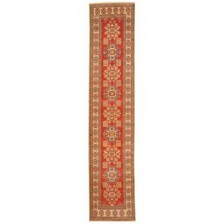 Herat Oriental Afghan Hand-knotted Tribal Kazak Wool Runner (2'6 x 11'9)