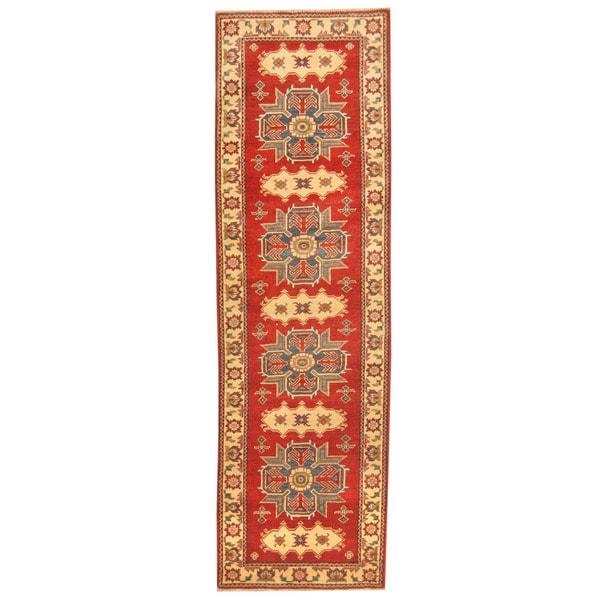 Herat Oriental Afghan Hand-knotted Tribal Kazak Wool Runner (2'10 x 9'4)