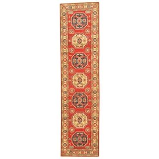 Handmade One-of-a-Kind Kazak Wool Runner (Afghanistan) - 2'6 x 10'