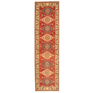 Herat Oriental Afghan Hand-knotted Tribal Kazak Wool Runner (2'7 x 9'9)