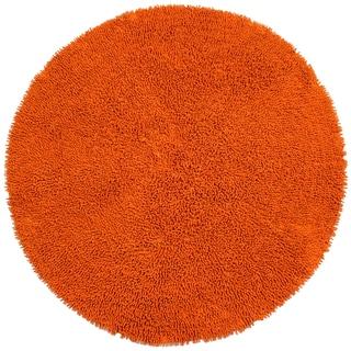 Copper Shagadelic Chenille Twist (2'x2') Round Shag Rug