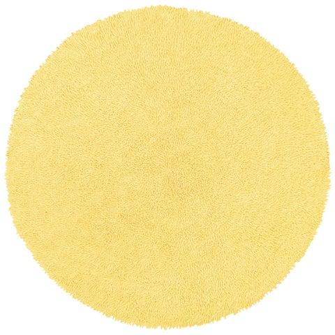 Yellow Shagadelic Chenille Twist Round Shag Rug - 2'x2'