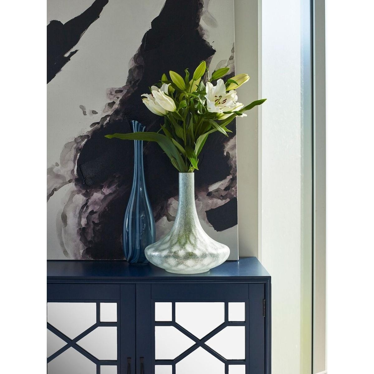 Aurelle Home Sega Tall Flower Vase (Vase), Blue (Glass)