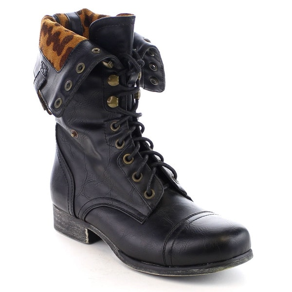 Beston Women's Foldable Lace Up Printed Back Zip Combat Boots