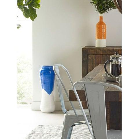 Aurelle Home Large Ceramic Blue Vase
