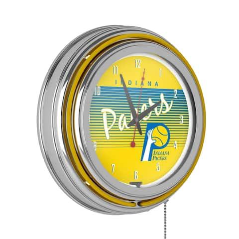 Indiana Pacers Hardwood Classics NBA Chrome Neon Clock - Yellow - Indiana Pacers