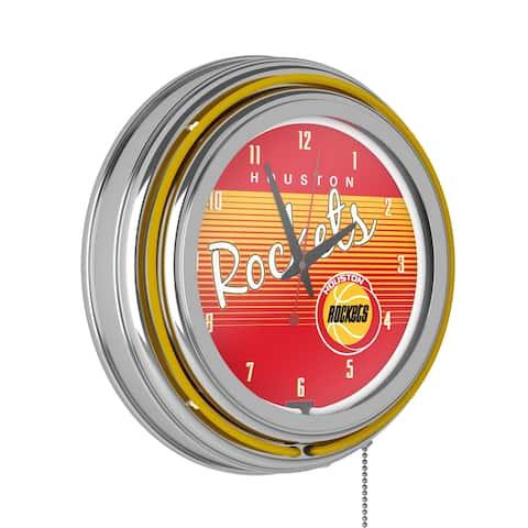 Houston Rockets Hardwood Classics NBA Ring Neon Clock - Yellow - Houston Rockets