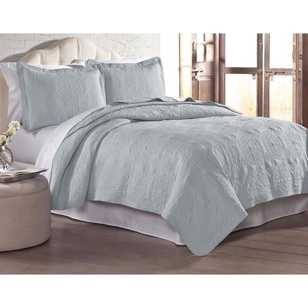 Modern Threads Solid Embroidered Quilted 3-piece Coverlet Set. Opens flyout.