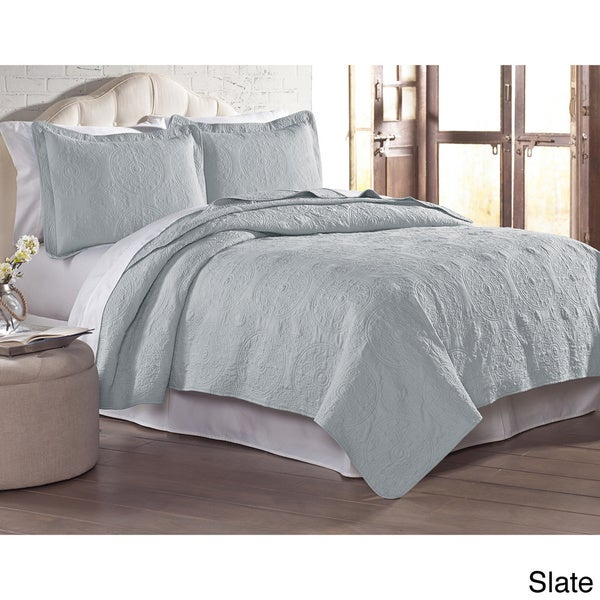 3 Piece Embroidered Quilted Blanket Bed Spread King Size Color Choice
