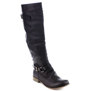 Beston Women's Decorative Buckle Studded Motorcycle Knee-High Riding Boots