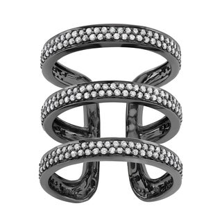 Sterling Silver 1 Carat Spiral Diamond ring in with Black Rhodium Plating (H-I, I1-I2)