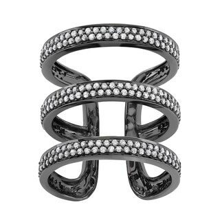 Sterling Silver 1 Carat Spiral Diamond ring in with Black Rhodium Plating