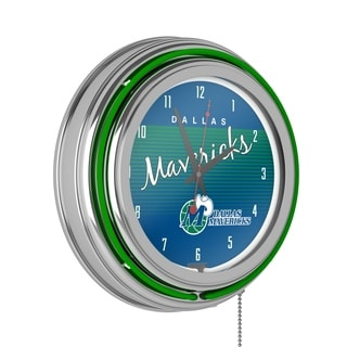 Dallas Mavericks Hardwood Classic NBA Chrome Neon Clock
