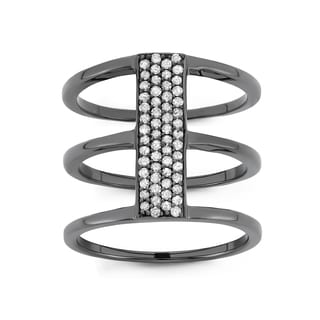 Sterling Silver 1/3 cttw Spiral Diamond Ring with Black Rhodium Plating (H-I, I1-I2)