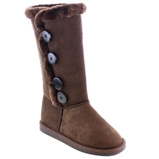 Beston Women's Faux Fur Snow Winter Flat Mid-Calf Boots