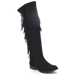 Soda Women's 'Before' Boho Fringe Side Zip Knee-High Riding Boots