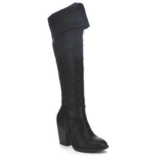 Soda Women's 'Elsa' Slouchy Fold Over Knee-High Boots