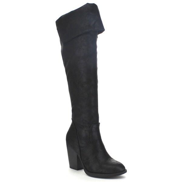 Soda Women S Elsa Slouchy Fold Over Knee High Boots