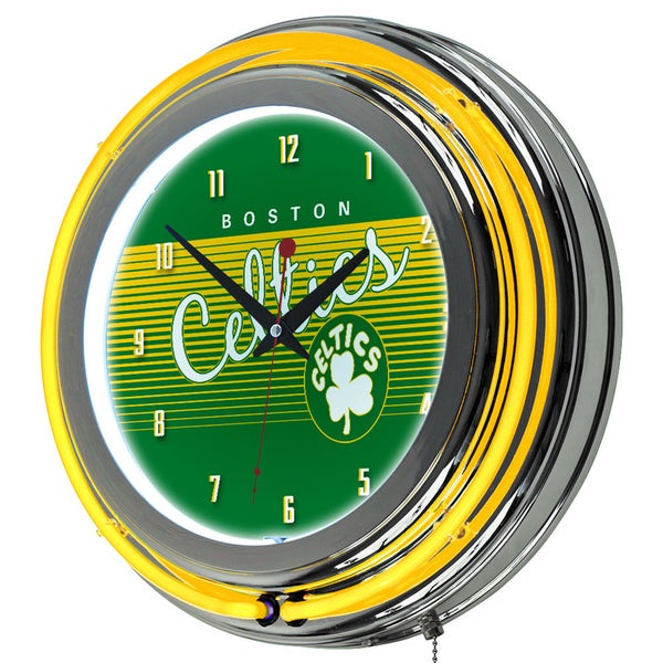 Boston Celtics Hardwood Classics NBA Chrome Neon Clock
