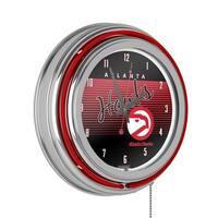 Atlanta Hawks Hardwood Classics NBA Chrome Neon Clock