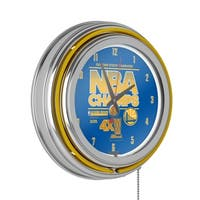Golden State Warriors Chrome Double Rung Neon Clock - 2015 NBA Champs