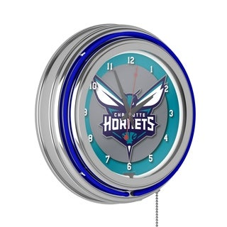 Charlotte Hornets NBA Chrome Double Ring Neon Clock