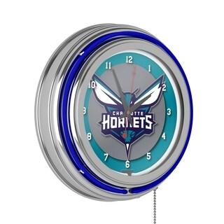 Charlotte Hornets NBA Chrome Double Ring Neon Clock