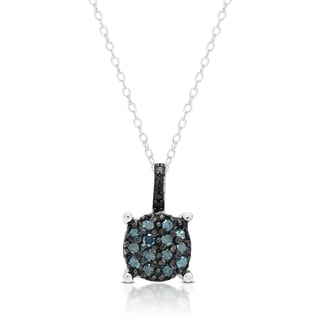 Finesque Sterling Silver 1/4 ct Blue Diamond Circle Necklace