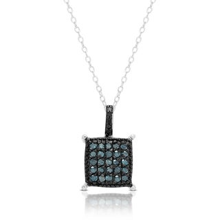 Finesque Sterling Silver 1/4 ct Blue Diamond Square Necklace