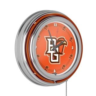 Bowling Green State University Chrome Neon Clock
