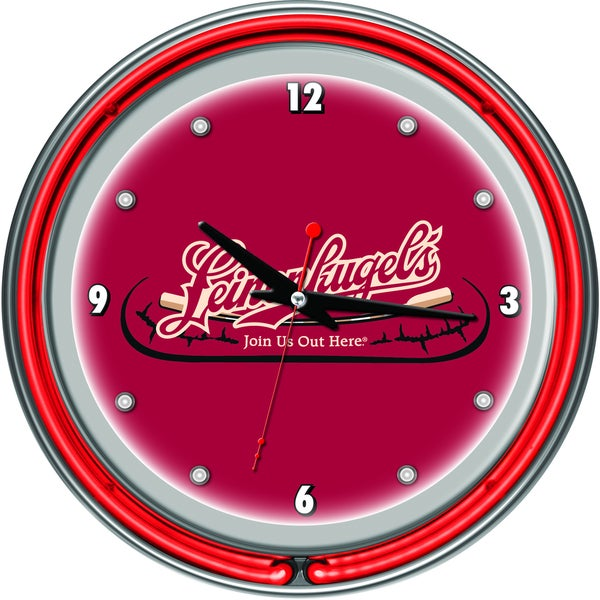 Leinenkugel's 14 Inch Chrome Double Ring Neon Clock