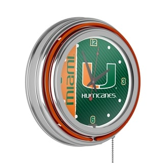 University of Miami Chrome Double Rung Neon Clock
