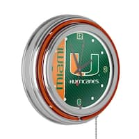 University of Miami Chrome Double Rung Neon Clock