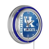 University of Kentucky Chrome Double Rung Neon Clock