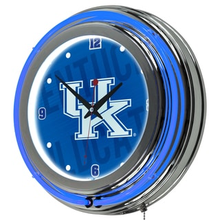University of Kentucky Chrome Double Rung Neon Clock