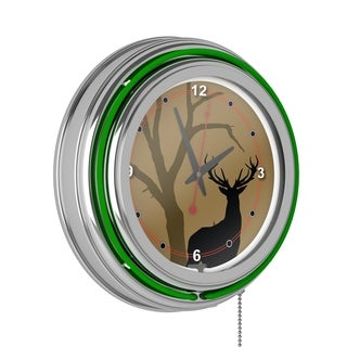 Hunt Deer Chrome Double Ring Neon Clock