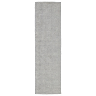 Solid Chic Grey and Beige Hand-Tufted Rug (2'3 x 8'0)