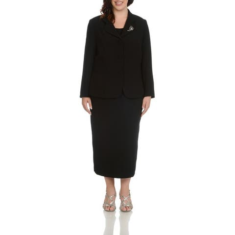 Giovanna Signature Women's Plus Size Decorative Brooch 3-piece Skirt Suit