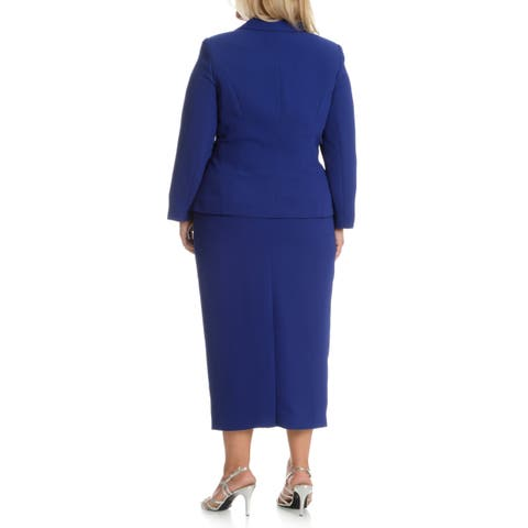 Giovanna Signature Women's Plus Size Decorative Brooch 3-piece Skirt Suit