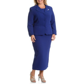 Giovanna Signature Women's Plus-size Decorative Brooch 3-piece Skirt Suit