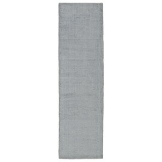 Solid Chic Silver and Grey Hand-Tufted Rug (2'3 x 8'0)