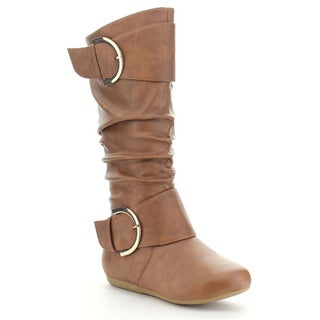 Top Moda Bank-90 Women's Double Buckle Knee-high Slouched Boots