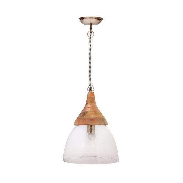 buy popular 490b3 32eb5 Shop Aurelle Home Roma Large Clear Glass and Wood Pendant ...