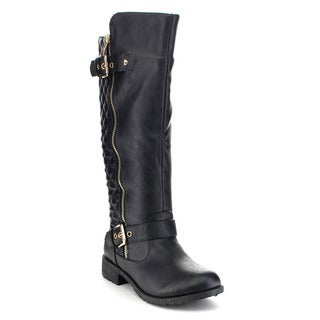 Top Moda Paper-1 Women's Buckle Quilted Knee-high Riding Boots