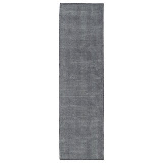 Solid Chic Carbon and Dark Grey Hand-Tufted Rug (2'3 x 8'0)