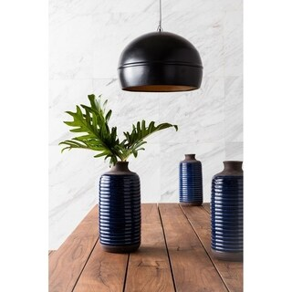 Aurelle Home Large Brass Black Pendant Lamp