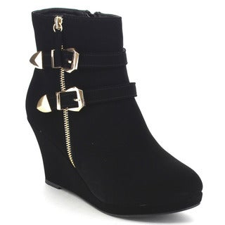 Top Moda Stella-5 Women's Double Buckle Platform Wedge Ankle Booties